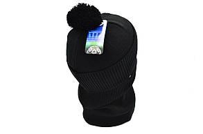 Комплект Flexfit шапка з помпоном и снуд FC Milan Italy Чёрный (F-0918-76), фото 3