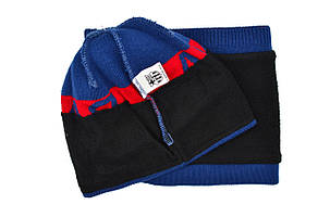 Комплект Flexfit шапка з помпоном и снуд FC Barselona Madrid Синий (F-0918-77), фото 2