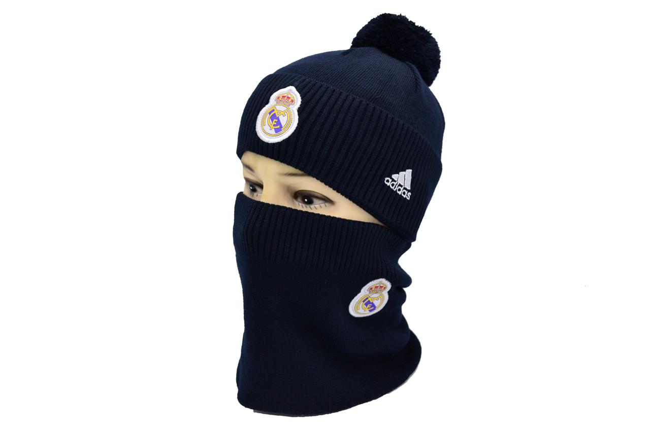 Комплект Flexfit шапка з помпоном и снуд FC Real Madrid Темно-синий (F-0918-79)