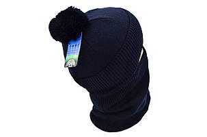 Комплект Flexfit шапка з помпоном и снуд FC Real Madrid Темно-синий (F-0918-79), фото 2