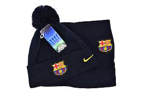 Комплект Flexfit шапка з помпоном и снуд FC Barselona Madrid Темно-синий (F-0918-80), фото 2