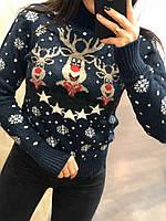Новогодний теплый шерстяной женский свитер с оленями (вязка), фото 1