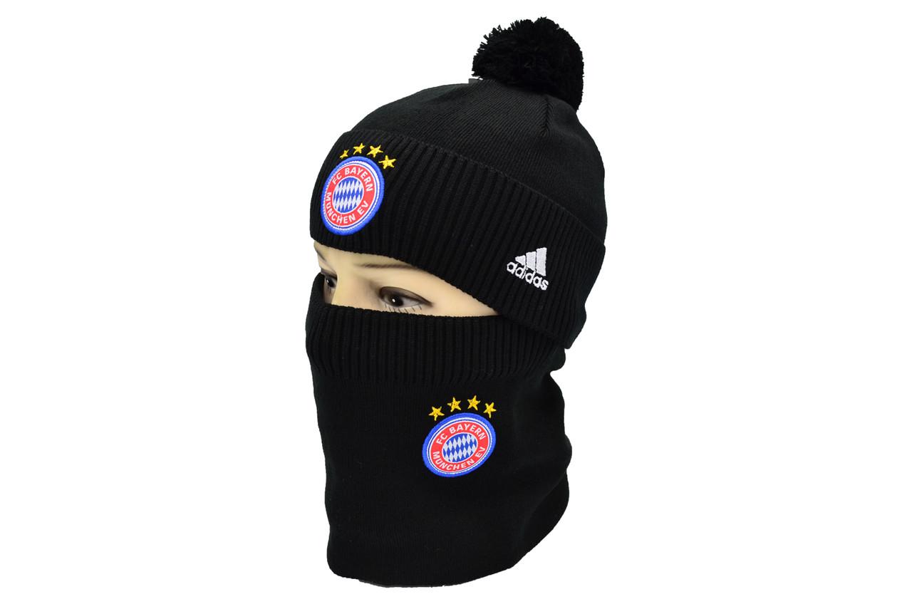 Комплект Flexfit шапка з помпоном и снуд FC Bayern München Чёрный (F-0918-81)