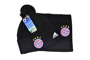 Комплект Flexfit шапка з помпоном и снуд FC Bayern München Чёрный (F-0918-81), фото 2
