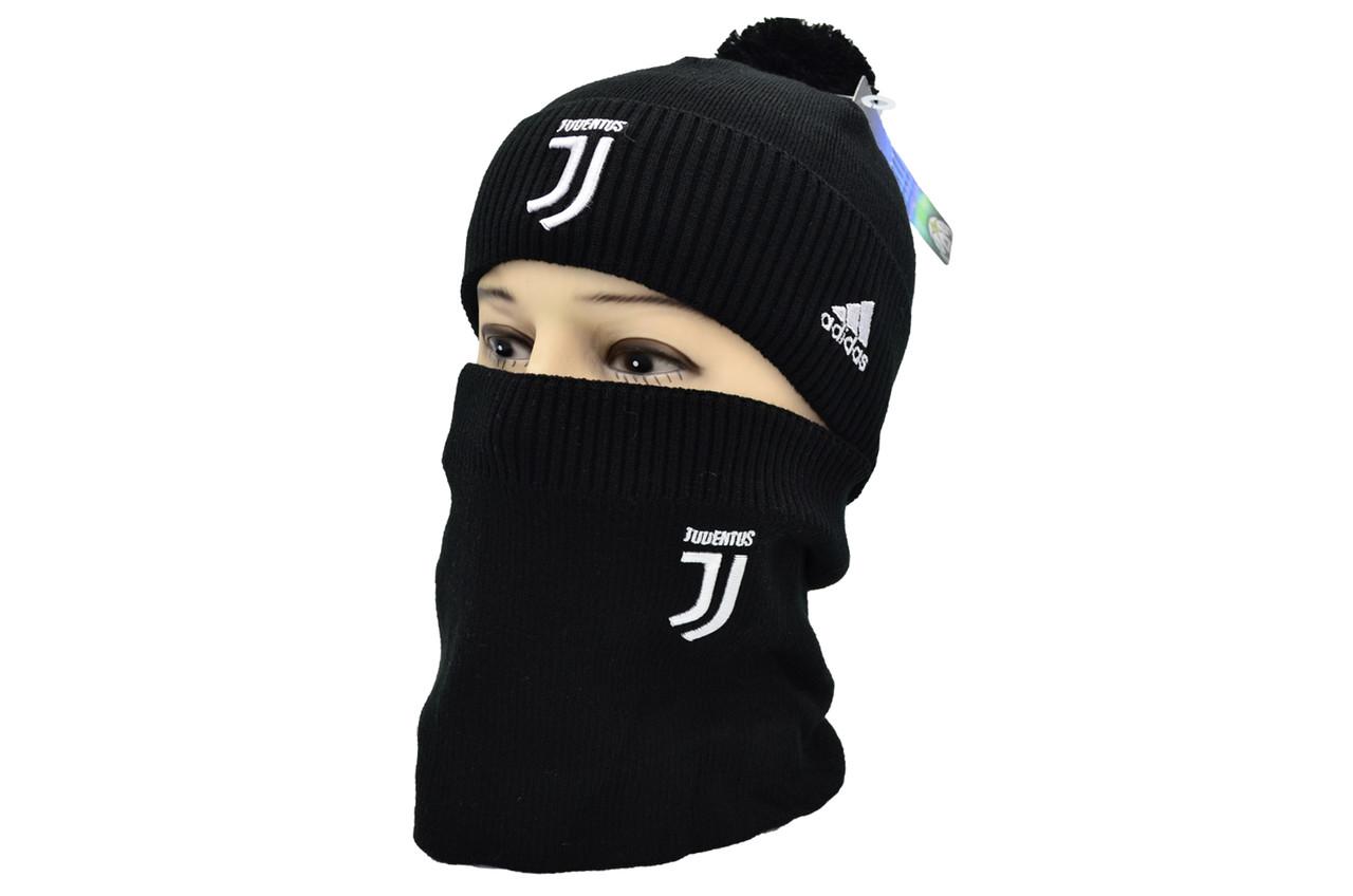 Комплект Flexfit шапка з помпоном и снуд FC Juventus Чёрный (F-0918-85)