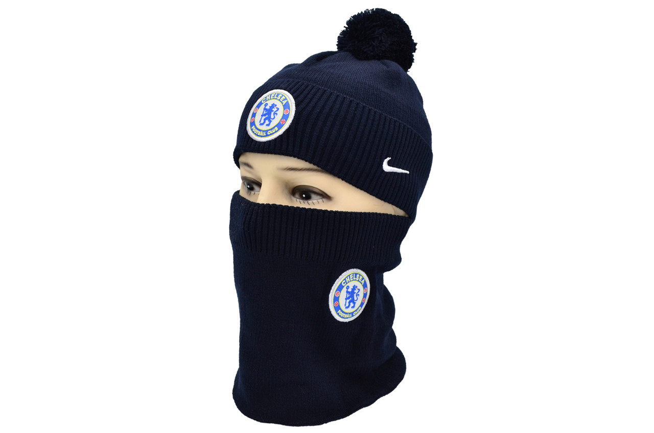 Комплект Flexfit шапка з помпоном и снуд FC Chelsea Темно-синий (F-0918-86)