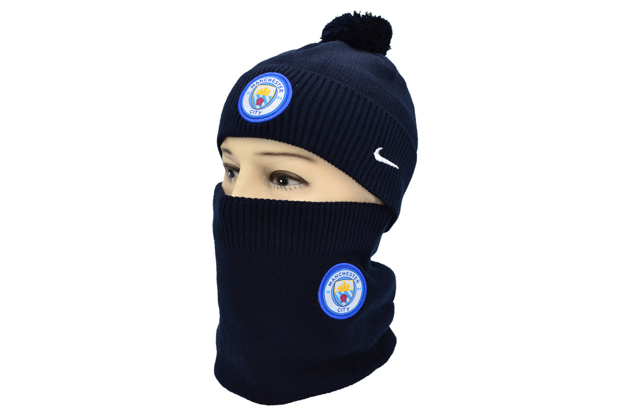 Комплект Flexfit шапка з помпоном и снуд FC Manchester City Темно-синий (F-0918-88)