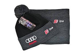 Комплект Flexfit шапка з помпоном и снуд Audi Темно-серый (F-0918-89), фото 2