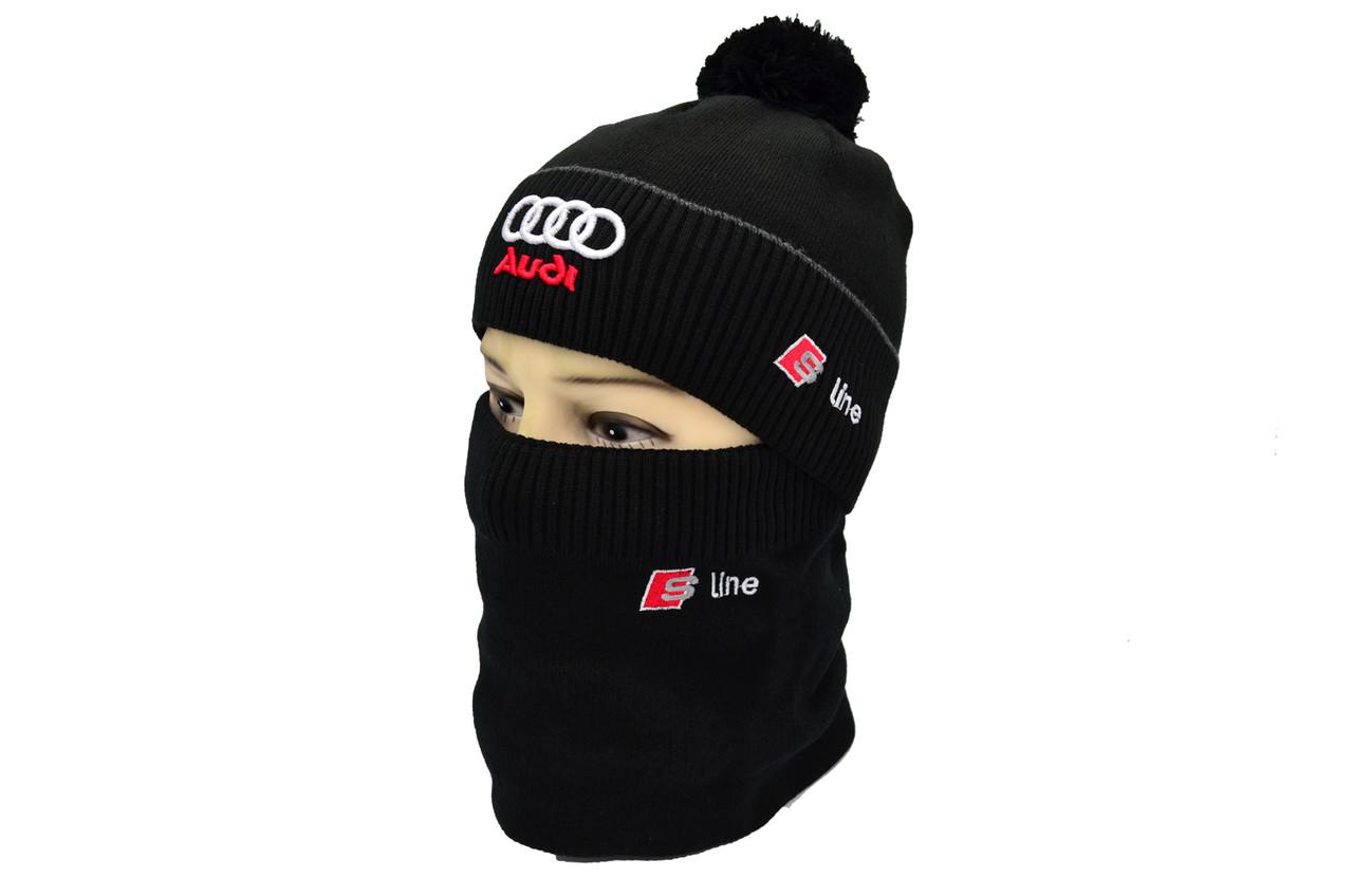 Комплект Flexfit шапка з помпоном и снуд Audi Чёрный (F-0918-90)