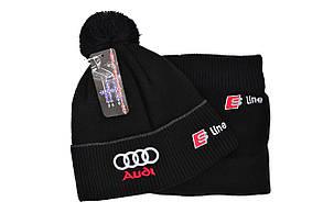 Комплект Flexfit шапка з помпоном и снуд Audi Чёрный (F-0918-90), фото 2