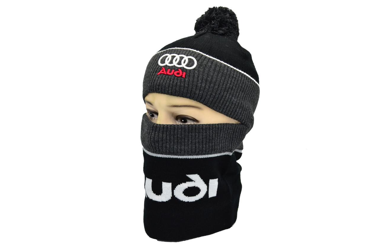 Комплект Flexfit шапка з помпоном и снуд Audi Чёрный (F-0918-93)