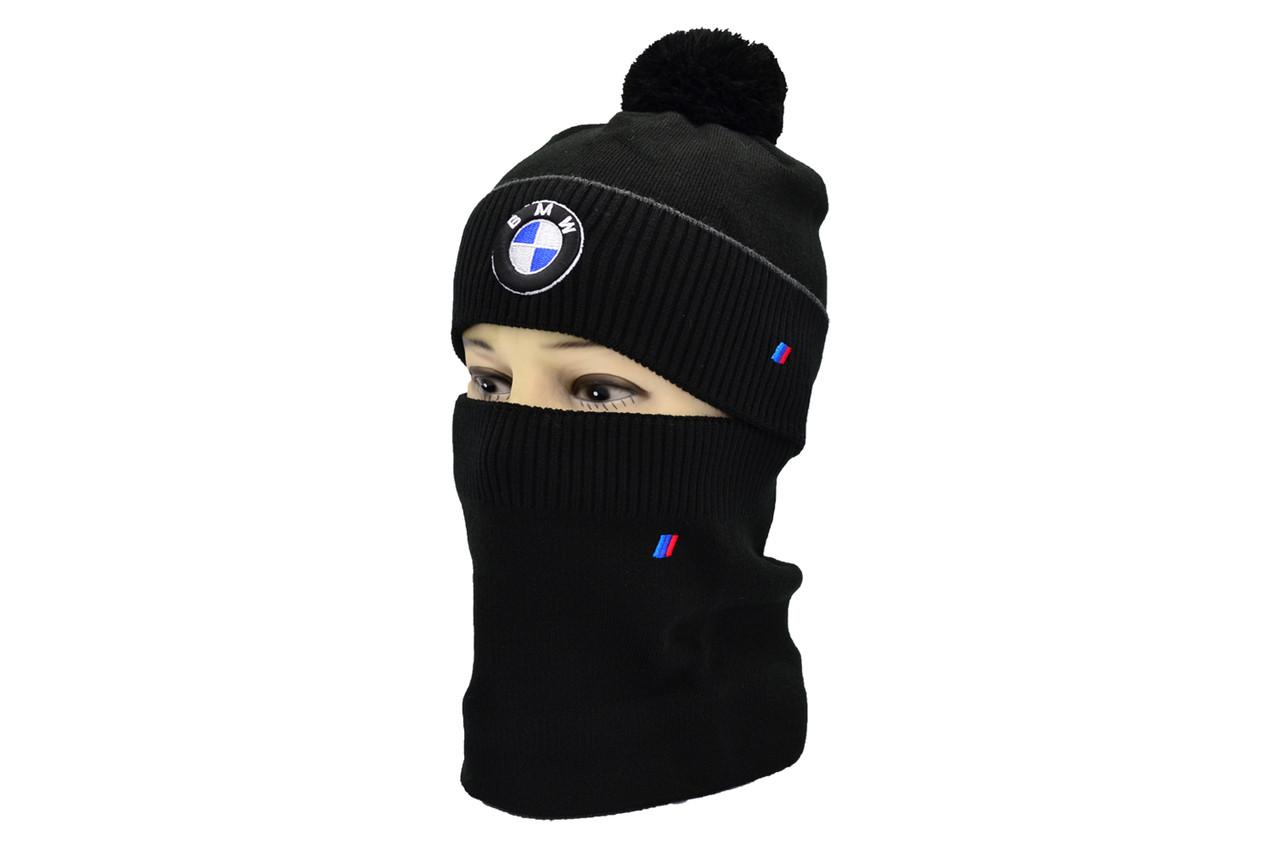 Комплект Flexfit шапка з помпоном и снуд BMW Чёрный (F-0918-96)