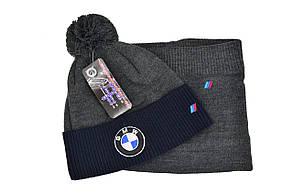 Комплект Flexfit шапка з помпоном и снуд BMW Темно-серый (F-0918-97), фото 2