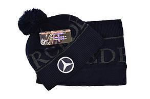Комплект Flexfit шапка з помпоном и снуд Mercedes Темно-синий (F-0918-100), фото 2