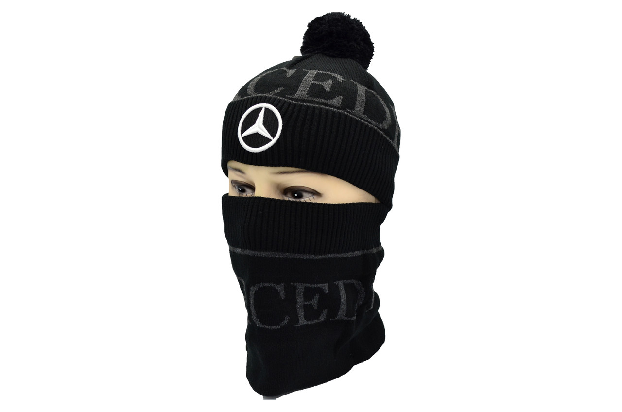 Комплект Flexfit шапка з помпоном и снуд Mercedes Чёрный (F-0918-101)