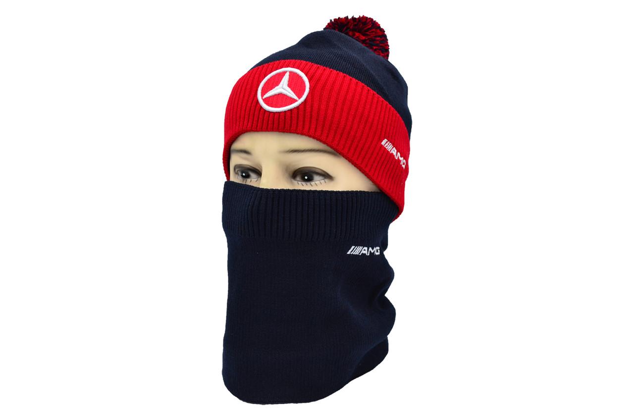 Комплект Flexfit шапка з помпоном и снуд Mercedes Темно-синий (F-0918-102)