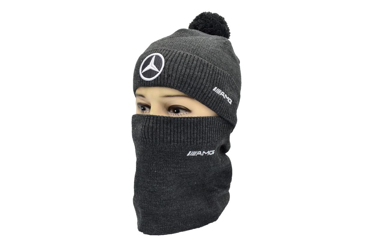 Комплект Flexfit шапка з помпоном и снуд Mercedes Темно-серый (F-0918-103)