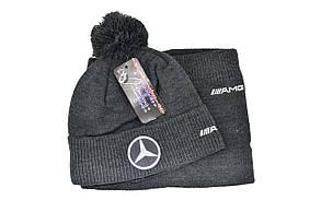 Комплект Flexfit шапка з помпоном и снуд Mercedes Темно-серый (F-0918-103), фото 2