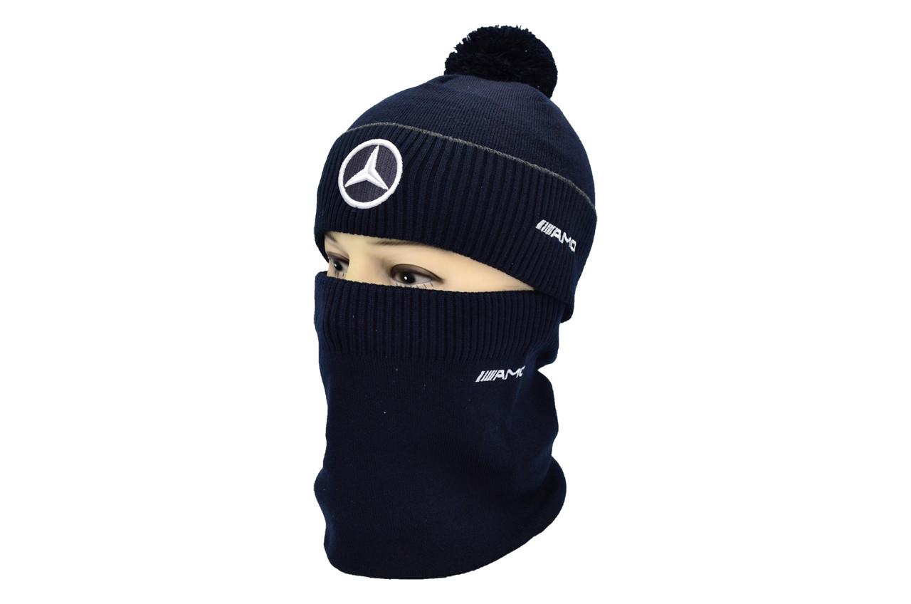 Комплект Flexfit шапка з помпоном и снуд Mercedes Темно-синий (F-0918-104)