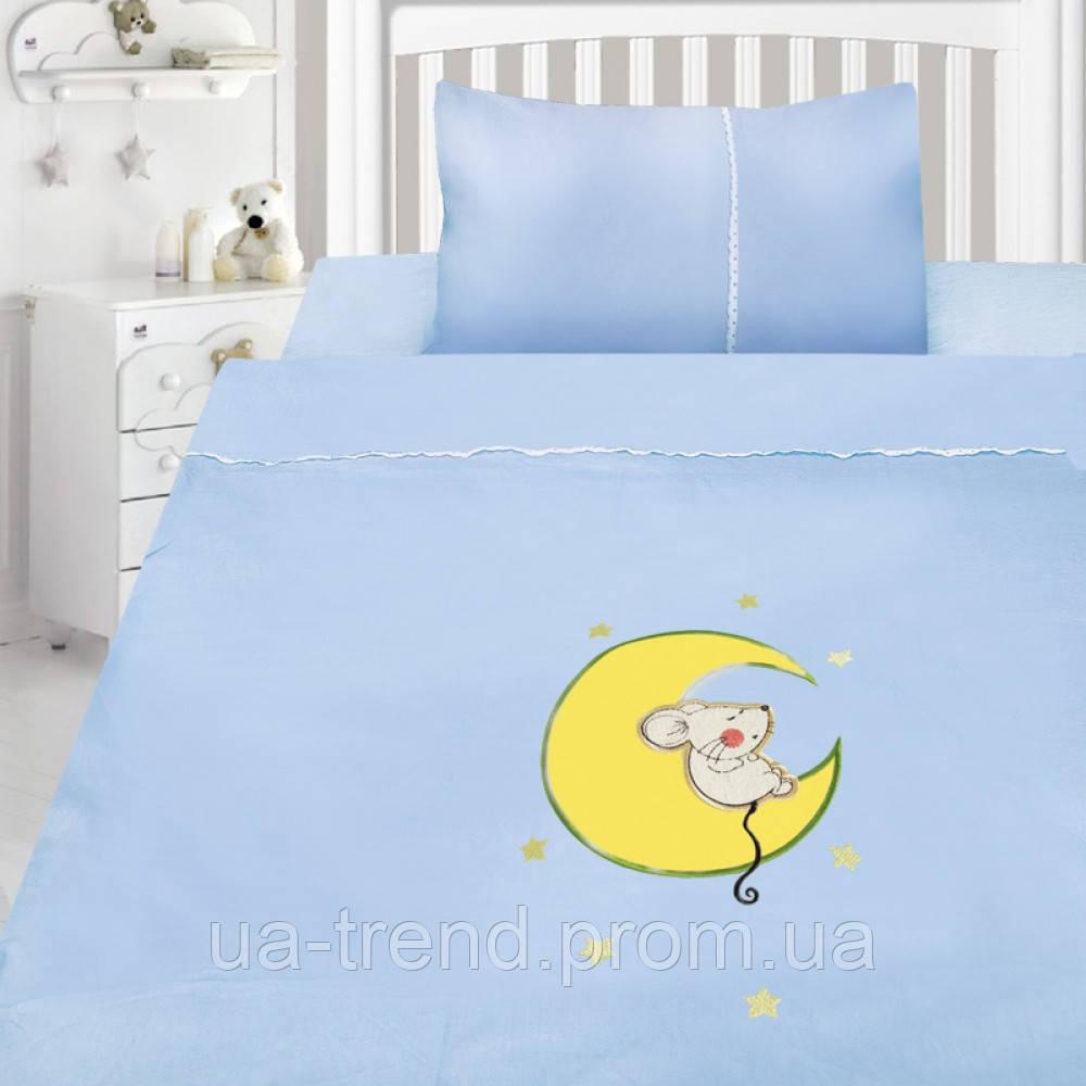Детская сатиновая постель для мальчика с вышивкой 147х112
