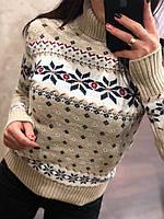 Удобный и красивый шерстяной женский свитер с рисунком (вязка), фото 1