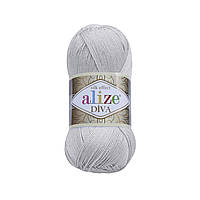 Пряжа Ализе Дива Alize Diva, цвет №168 светло серый