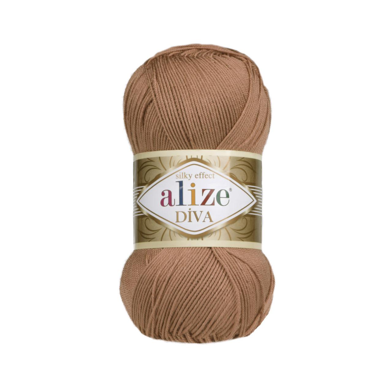 Пряжа Ализе Дива Alize Diva, цвет №261 красно коричневый