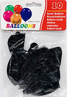 """Воздушные шары 8047-36 10штук """"Латекс Черный"""" 31см 2,5г уп12"""