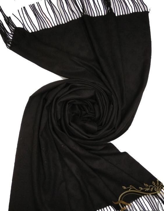 Однотонный  палантин с бахромой цвет чёрный