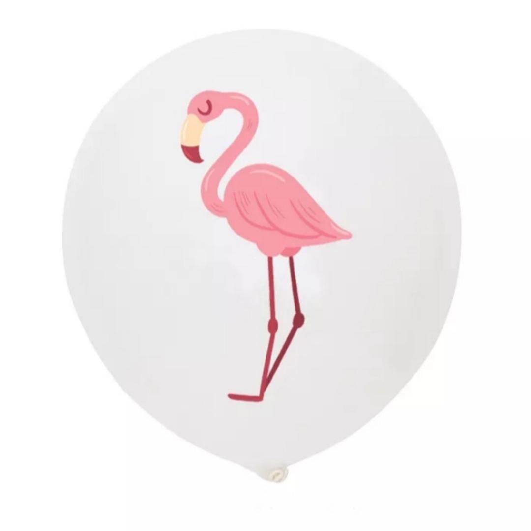 Білі повітряні кулі з тропічним принтом рожевий фламінго 30 см 1 шт.