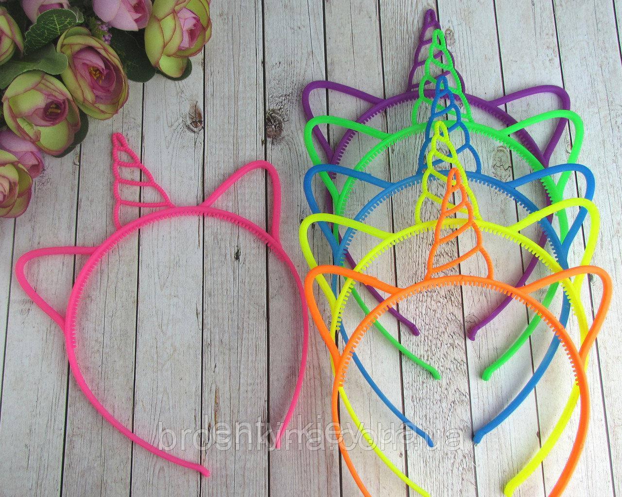 Ободок Обруч на голову Единорог (разноцветные) Пластик -