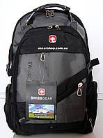 Мужской рюкзак swissgear c j3 кабель. Сумка портфель. Спортивный рюкзак + дождевик. ШР5-1