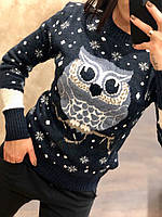 Теплый шерстяной праздничный женский свитер с совой (вязка), фото 1