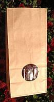 Пакет бумажный подарочный фасовочный чай кофе мука крупа орешки окошко 85х65х190 (1000шт/уп) крафт кор 70гр