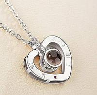 Женский кулон на шею I love you серебрянный, 45см, цинковый сплав, кулон, подарки любимой, подарок для девушки