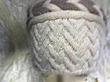 Шапка двоколірна ангорка бежева з візерунком, фото 3