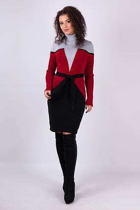 Жіноча сукня в'язана Корсет (сірий, вишня, чорний), фото 2