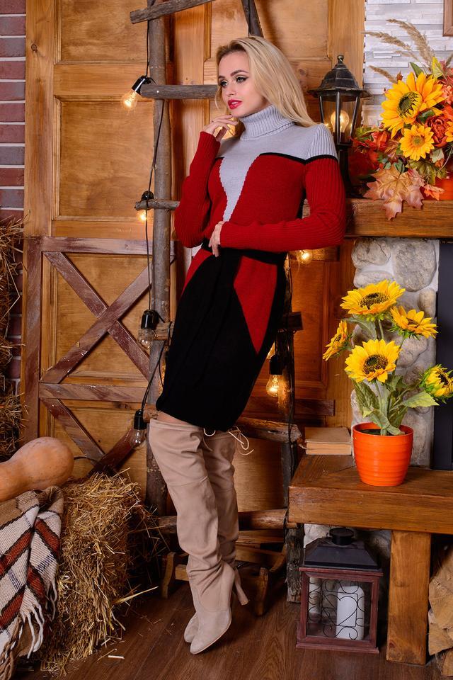 Женское платье вязаное Корсет (серый, вишня, черный)