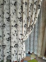 Стильные чёрно-белые шторы. Шторы лён. Шторы в стиле Прованс
