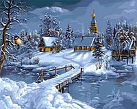 Картина по номерам на холсте 40х50см Зимняя сказка
