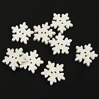 """Пуговицы белые """"Снежинки"""" 15мм. 10шт в наборе"""