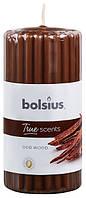 Свеча ароматическая ребристая древесный Bolsius 12 см (60/120-002. 38606)