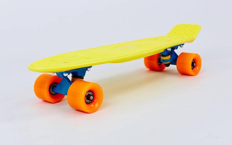 Скейтборд пластиковий Penny COLOR POINT FISH 22in з кольоровими болтами (жел-сін-оран) + ПОДАРУНОК