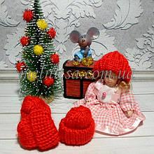 """Мини-декор """"Шапочка вязанная"""", 3,5 х 3,7 см,  цвет красный, 1 шт."""