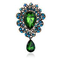 Брошь 7,2*4,3см веер с подвеской и зелеными кристаллами Изумруд, фото 1
