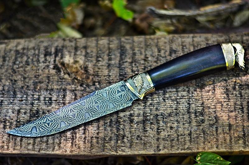 """Авторский коллекционный нож """"Angel"""" с мозаичным дамаском и грабом, элитный подарок мужчине"""