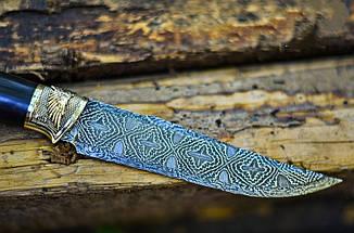 """Авторский коллекционный нож """"Angel"""" с мозаичным дамаском и грабом, элитный подарок мужчине, фото 2"""