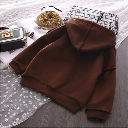 Кофта  детская на мальчика теплая на флисе  4-7 лет коричневая, фото 2