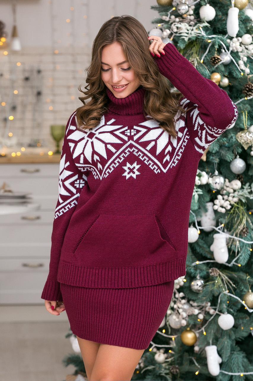 Теплый вязаный свитер Снежка (марсала, белый)