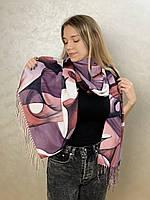 """Шарф жіночий брендовий  """"Абстракція"""", 180*70см., фіолетовий, білий, Eyfel, Туреччина"""